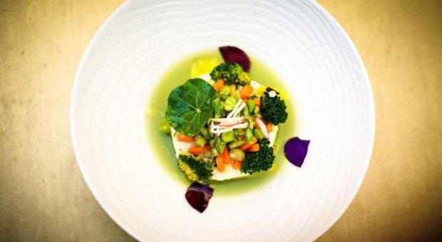 jardin-de-verduras-con-pure-de-alubias-blancas-licuado-de-judias-verdes-y-aceite-de-cornicabra-del-monastrell